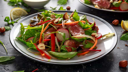 Spicy Beef Salad with Carrots, radish, bean sprouts, chilli, nuts and green mix Archivio Fotografico - 113326677
