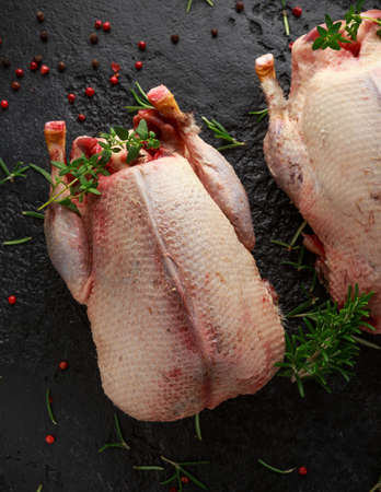 Raw wild mallard ducks with herbs. ready to be cooked. Game or quarry birds Stock Photo - 117131828