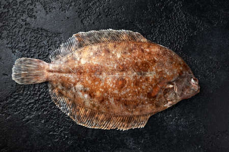 Raw lemon sole fish on black background, top view