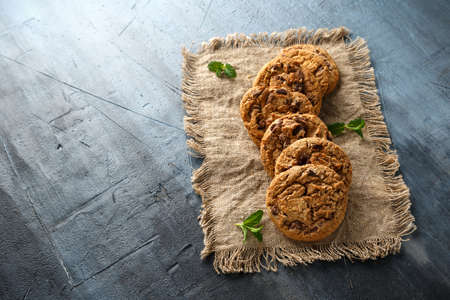 Delicious Double chocolate chip cookies with mint.