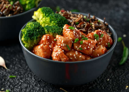 Teriyaki chicken, steamed broccoli and wild rice served in two Asian clay bowls Foto de archivo - 120217246