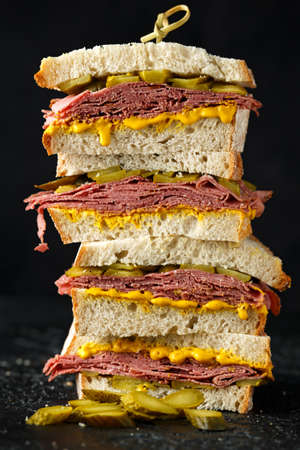 New York pastrami, gherkins and sourdough bread deli sandwich Stok Fotoğraf