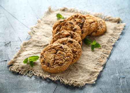 Delicious Double chocolate chip cookies with mint. Banque d'images - 120217572