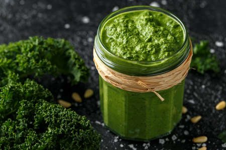 Vegan kale pesto with roasted pine nuts and sea salt flakes
