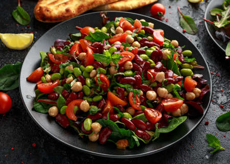 Fresh Beans salad with flatbread and mix of vegetables