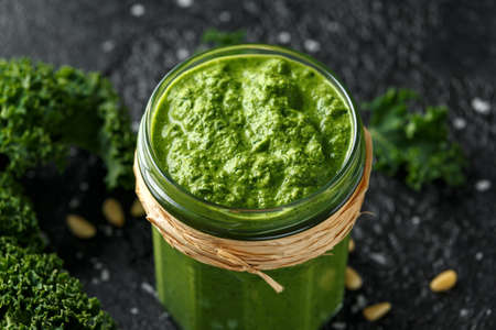 Vegan kale pesto with roasted pine nuts and sea salt flakes.