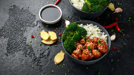 Teriyaki chicken, steamed broccoli and basmati rice served in two Asian clay bowls Foto de archivo - 121135777