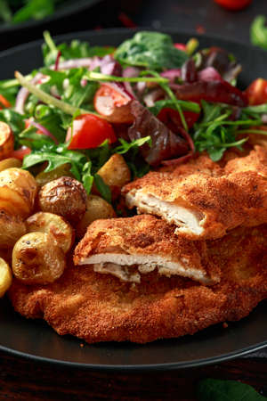 Homemade breaded pork schnitzel with roast potato and vegetables Banque d'images - 122798281