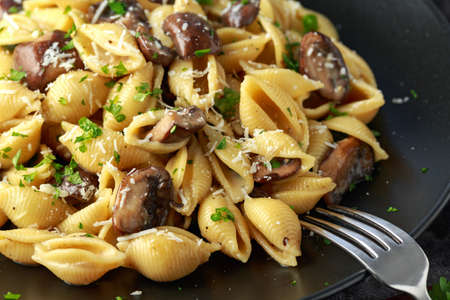 Carbonara mushrooms pasta Conchiglie with creamy sauce, parmesan cheese and herbs. Stock Photo