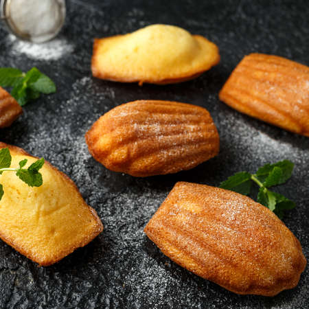 Madeleine French small cake, cookies shell on rustic background.
