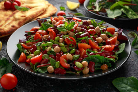 Fresh Beans salad with flatbread and mix of vegetables.