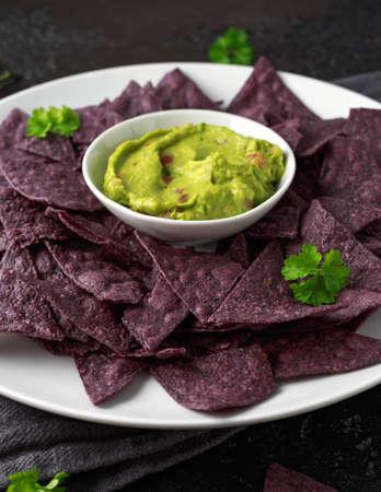 Blue corn Organic tortilla chips with Guacamole
