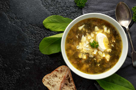 Traditional russian Sorrel soup with sour cream and hard boiled egg. Stock Photo