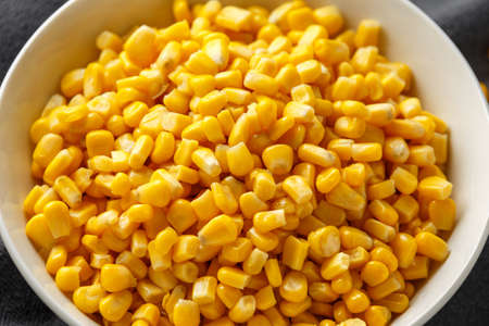 Sweet Corn in white bowl. Healthy food