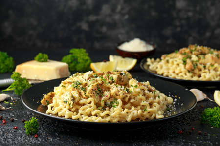 Artichoke hearts and lemon pasta with parmesan cheese and parsley