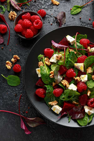Healthy Beet Salad with raspberry, walnuts nuts and feta cheese