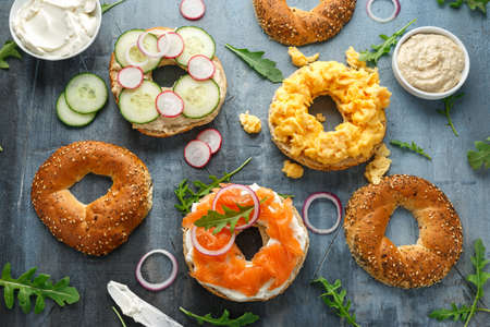 Healthy Bagels breakfast sandwich with salmon, scrambled eggs, vegetables and cream cheese