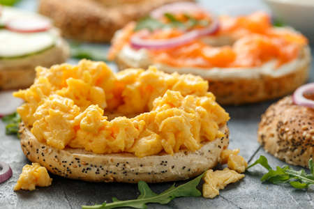 Healthy Bagels breakfast sandwich with scrambled eggs, salmon and cream cheese