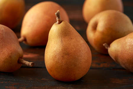 Healthy Organic slice of Pears on a wooden table