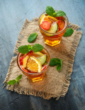 Refreshing Pimms Cocktail with Fruit and vegetables