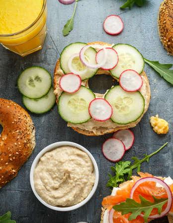 Healthy Bagels breakfast sandwich with cucumber, radish and hummus