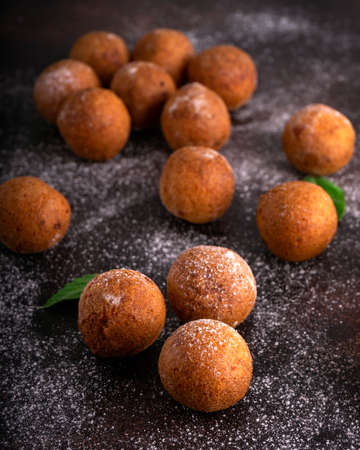 Tasty Cottage cheese donuts with Sugar Powder Stock Photo
