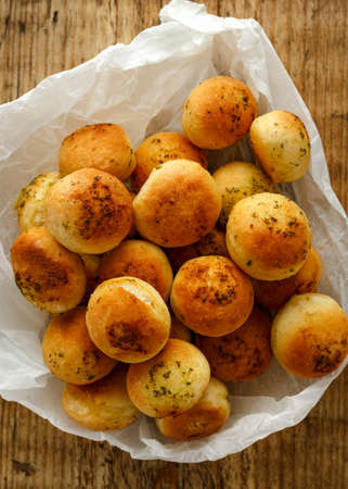 Homemade freshly baked Garlic dough balls with parsley and butter