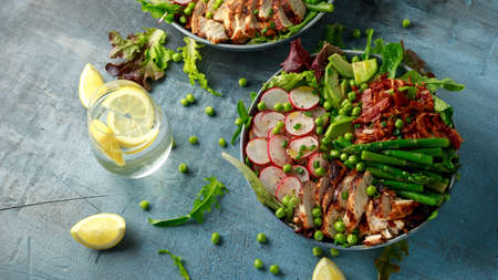 Cobb salad bowl with grilled chicken breast, asparagus, avocado, radishes and bacon Stockfoto