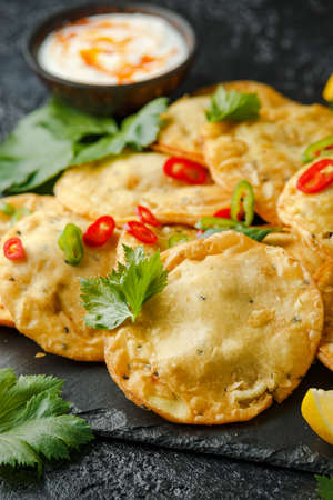 Traditional Indian snack food, chicken and vegetable staffing kachori Stock Photo