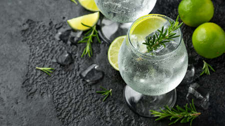 Gin and Tonic Alcohol drink with Lime, Rosemary and ice on rustic black table.
