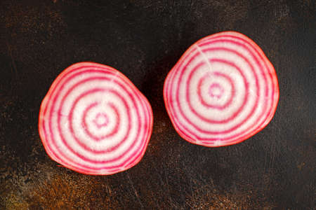 Raw fresh red striped chioggia beet root. Фото со стока