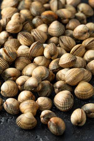 Fresh raw cockle molluscs in heart-shaped shells, sea food shellfish on dark background.