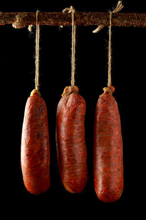 traditional Balearic raw cured meat sobrassada sausage made from ground pork, paprika and spices Banque d'images