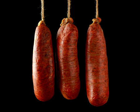 traditional Balearic raw cured meat sobrassada sausage made from ground pork, paprika and spices Reklamní fotografie