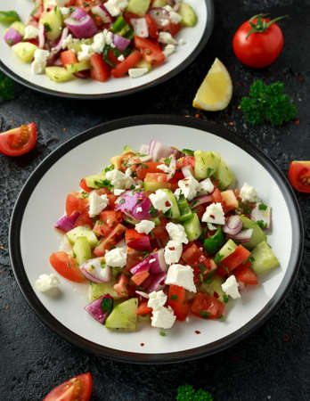 Turkish Shepards Salad with cucumber, tomato, red onion, pepper, parsley and Feta cheese Stockfoto
