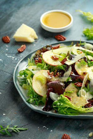 Vegetarian Fennel and apple salad with pecan nuts and Pecorino romano cheese shavings.