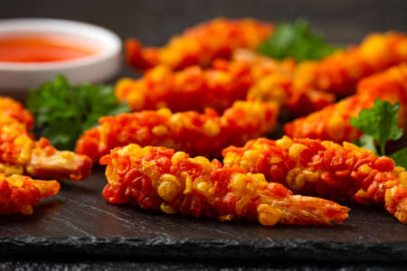 Tempura King prawns with sweet chilli dip sauce, dip 写真素材