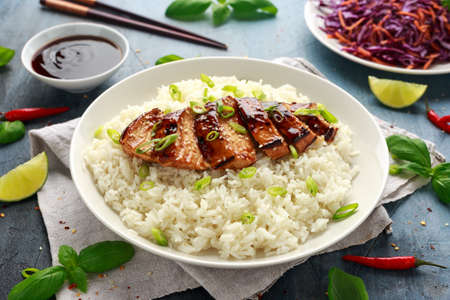 Teriyaki chicken with rice and red cabbage salad. Asian style food Stock fotó