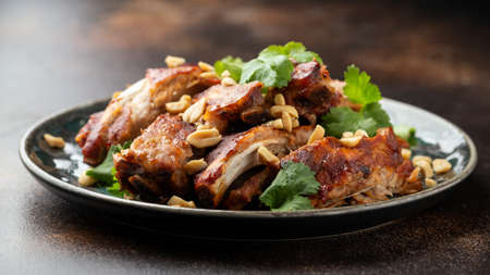 Chinese Pork ribs with peanuts and coriander