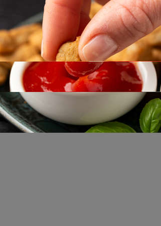 Party finger food southern style chicken breast bites dipped in ketchup
