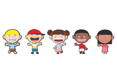 multi races of children on white background