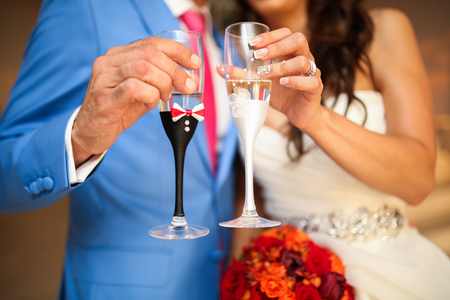 Bride and groom champagne toast. close up