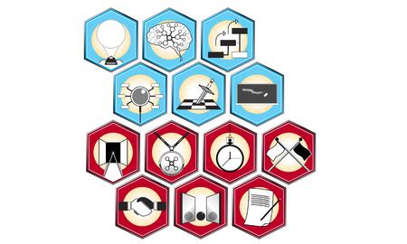 webbing: Illustration of Learning Activity. Isolated on white background.