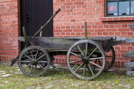 An old wooden cart for transport at a glassworks in Baruth, Germany.