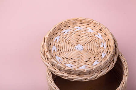 Jewelry box made of paper vine, handmade concept, container for storing small items