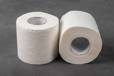 Two toilet paper rolls on a gray background, close-up