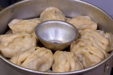 Mantas. Dumplings, Asian national dish for a couple, close-up Archivio Fotografico