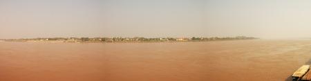 tha: Thai Laos Border at Tha Sadet Pier Market in Nongkhai, Thailand - Panorama