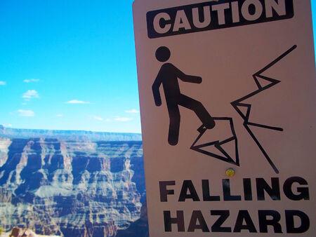 achtung schild: Vorsicht Zeichen am Guano-Point, Grand Canyon