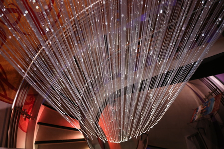 drop ceiling: Contemporary Stairs with Crystal Rain Drop Lamp Ceiling Light Stock Photo